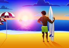 Surfer on the ocean beach at sunset with surfboard. vector illustration, vintage effect. sports african american man on. Weekends, healthy lifestyle Stock Photography