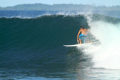 Surfer On Wave, Indonesia Stock Images