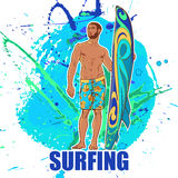 Surfer on ona a grunge spots. Brefs. Front view. royalty free illustration
