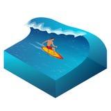 Surfer op Blauwe Oceaangolf in de Buis die Barreled krijgen royalty-vrije illustratie