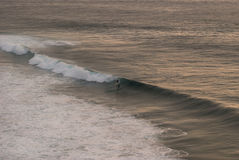 Surfer op een golf Stock Foto's