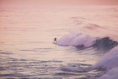Surfer op een golf Stock Afbeelding