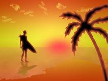 Surfer op het strand bij dageraad Royalty-vrije Stock Afbeelding