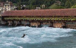 Surfer op rivier Aare Thun royalty-vrije stock foto