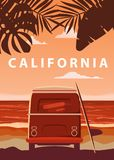 Surfer orange bus, van, camper with surfboard on the tropical beach. Poster California palm trees and blue ocean behind vector illustration