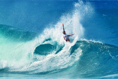 Surfer Owen Wright Surfing Pipeline in Hawaii Stock Photo