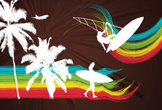 Surfer Palm Rainbow. Vector Illustration Royalty Free Stock Photography