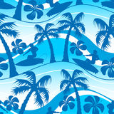 Surfer with palm tree seamless pattern Stock Images