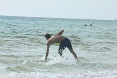 Surfer panama city beach stock photo