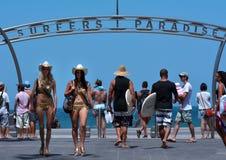 Surfer-Paradies-Bogen Queensland Australien Lizenzfreies Stockfoto