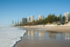 Surfer Paradise beach in the morning. Royalty Free Stock Photography