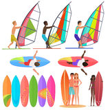 Surfer people collection. Surfboards, top and front views of riding on the waves. Surfing couple Vector illustration. Stock Image