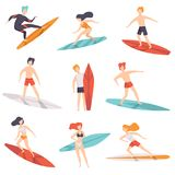 Surfer people riding surfboards set, young women amd men enjoying summer vacation on the sea or ocean vector. Illustration isolated on a white background stock illustration