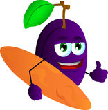 Surfer plum with thumb up Royalty Free Stock Photography