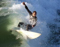 Surfer pulling off a killer fl. Taken off Crystal Pier in San Diego Royalty Free Stock Photos