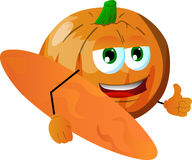 Surfer pumpkin with thumb up Stock Images