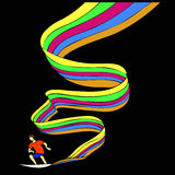 Surfer on the rainbow Royalty Free Stock Images