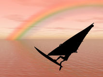 Surfer in the rainbow Royalty Free Stock Photo