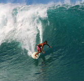 Surfer Randall Paulson Surfing at Pipeline Royalty Free Stock Photo