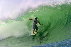 Surfer Randall Paulson Surfing a Tube Wave Stock Images