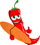 Surfer red hot chili pepper with thumb up Stock Photos