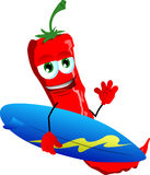 Surfer red hot chili pepper Stock Photos