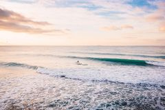 Surfer ride on perfect wave in ocean. Landscape with waves and sunrise colors. Surfer ride on perfect wave in ocean. Landscape with waves and sunrise Stock Image