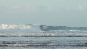 Balinese professional surfer rides a tropical ocean wave stock video