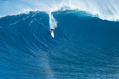 Surfer Rides GIant Wave at Jaws Royalty Free Stock Photography