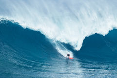 Surfer Rides GIant Wave at Jaws Royalty Free Stock Images