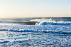 Surfer Rides Hollow Wave Morning Royalty Free Stock Image