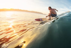 Surfer rides wave. Surfer rides the perfect ocean wave at sunrise Stock Images