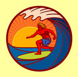 Surfer riding big wave in the sunset vector illustration Royalty Free Stock Photos