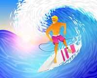 Surfer riding on blue ocean wave with surfboard. Muscular man on weekends. Happy young guy on the crest. Sea and Beach Royalty Free Stock Photo