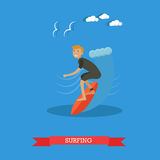 Surfer riding on ocean wave, vector illustration in flat style. Vector illustration of surfer in wetsuit standing on surfboard and riding on ocean wave. Beach Stock Photos