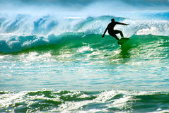 Surfer riding a wave Royalty Free Stock Photo