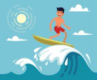 Surfer riding the wave. Vector illustration in flat stile Royalty Free Stock Photo