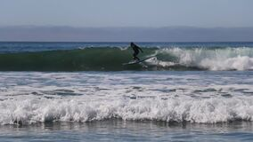 Surfer Riding the Waves at the Beach