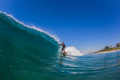 Surfer Ridng Blue Wave Stock Photo