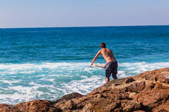 Surfer Rock Jump Entry Sea Royalty Free Stock Photography
