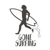 Surfer running on the beach. Gone surfing calligraphy stock illustration