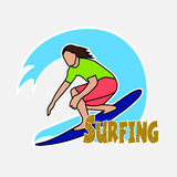 Surfer's drawing on the Hawaiian wave Stock Images