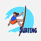 Surfer's drawing on the Hawaiian wave Stock Image
