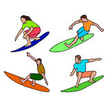 Surfer's drawing on a white background Royalty Free Stock Photo