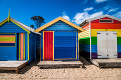 Surfer's huts. A shot of colorful beach houses taken at Brighton's beach, Melbourne Australia Royalty Free Stock Photo