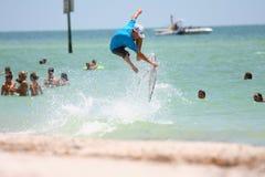 Surfer's jump Stock Photos