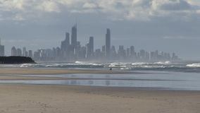 Surfer's Paradise visible from Palm Beach, Gold Coast, Australia. stock video