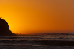Surfer's Sunset. A California sunsetting on surfers Stock Photos