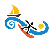 Surfer and sail boat, vector illustration Stock Photo