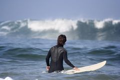 Surfer in the sea Royalty Free Stock Images